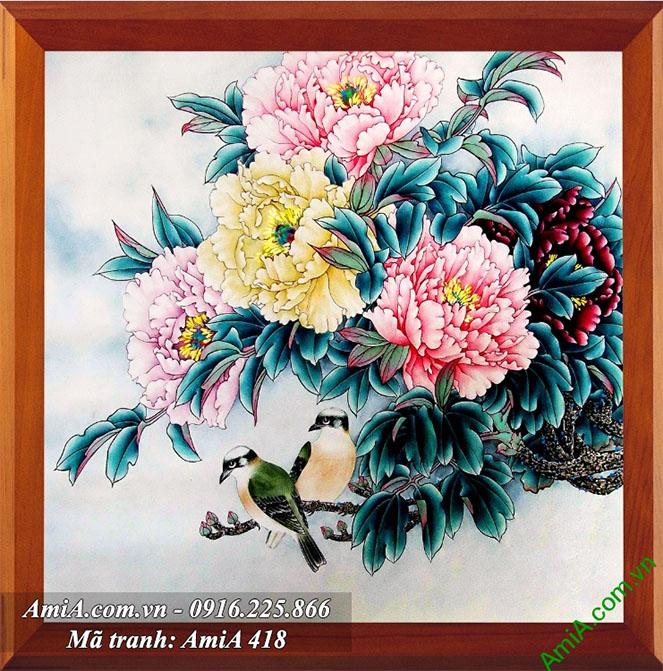 Tranh hoa mau don treo tuong phong ngu vo chong hanh phuc y nghia AmiA 418