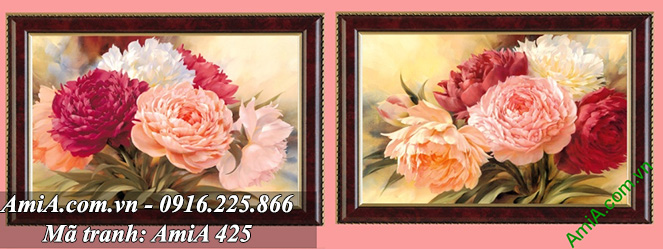 Tranh ghep bo song hoa mau don treo tuong phong ngu vo chong y nghia AmiA 425