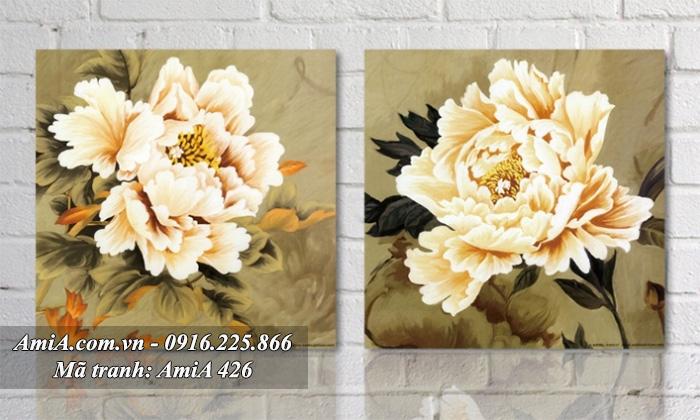 Tranh song hoa mau don treo phong ngu vo chong hanh phuc