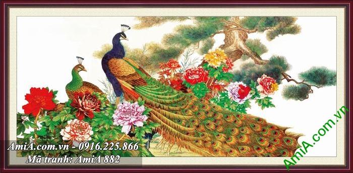 Tranh doi chim khong tuoc va hoa mau don duoc nhieu nguoi ua chuong nhat