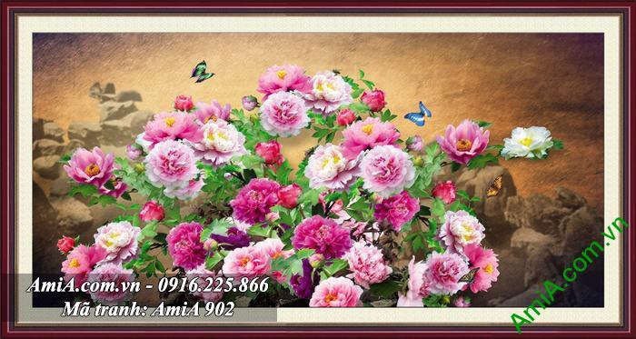Tranh hoa mau don tren nui treo phong ngu vo chong nhanh chong co con AmiA 902