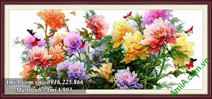 Tranh hoa mau don mang y nghia giau co thinh vuong