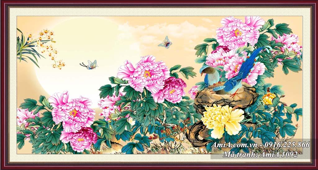 Tranh doi chim va hoa mau don duoi anh trang y nghia