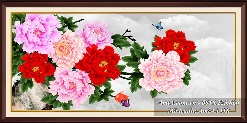 Tranh hoa mau don 9 bong giau co ve suc khoe tien tai hanh phuc