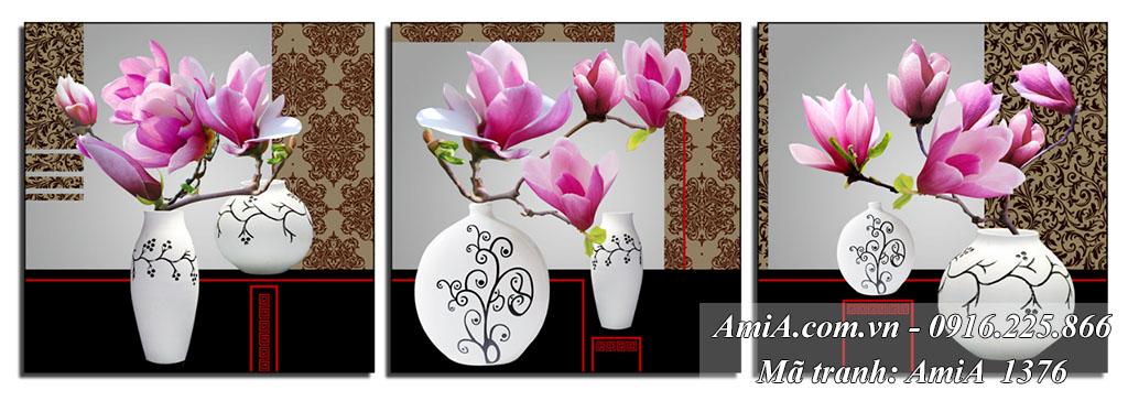Bo 3 tranh binh hoa moc lan treo tuong phu quy AmiA 1376