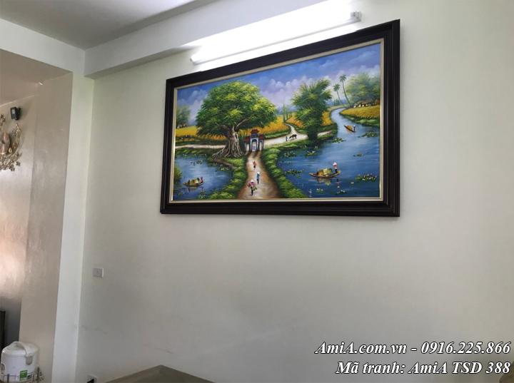 Hình ảnh tranh sơn dầu mã TSD 388 phong cảnh làng quê treo phòng khách