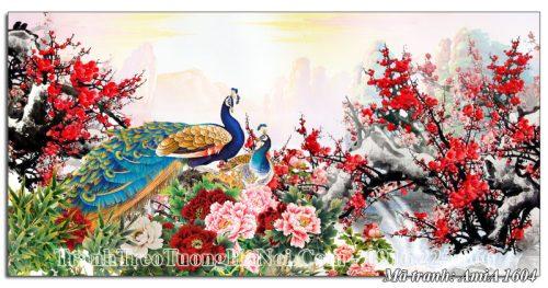 Tranh amiA 1604 chim công hoa mẫu đơn treo tường
