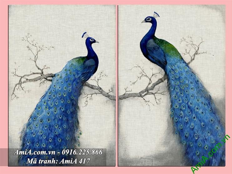 Tranh doi chim cong treo phong ngu vo chong hop phong thuy AmiA 417