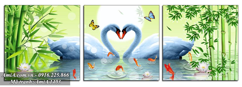Tranh doi chim thien nga duoi anh trang treo phong ngu vo chong AmiA 1403