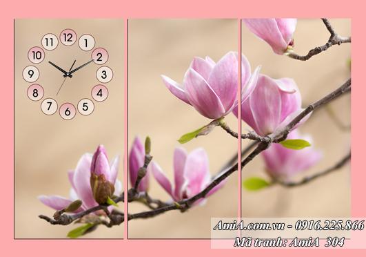 Tranh dong ho treo tuong hoa moc lan diu dang quyen ru AmiA 304
