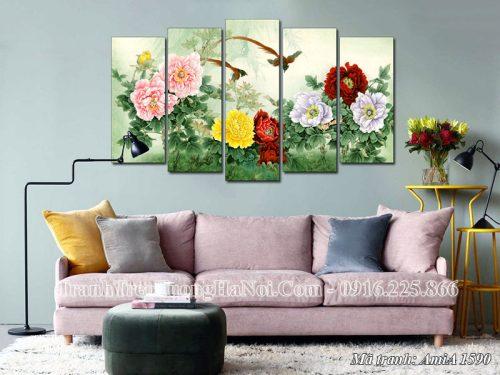 Tranh treo tường AmiA 1590 ghép 5 tấm hoa mẫu đơn