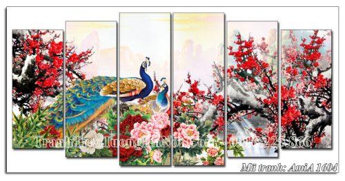 Tranh chim công hoa mẫu đơn treo tường Amia 1604 ghép 6 tấm