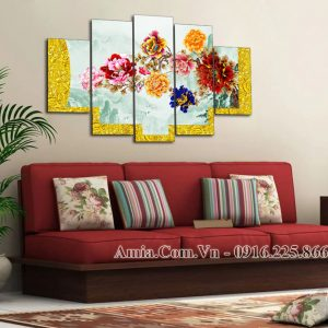 Tranh treo tường AmiA 1599 hoa mẫu đơn 9 bông