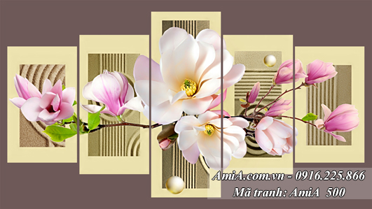 Tranh hoa moc lan treo tuong binh hoa dep AmiA 500