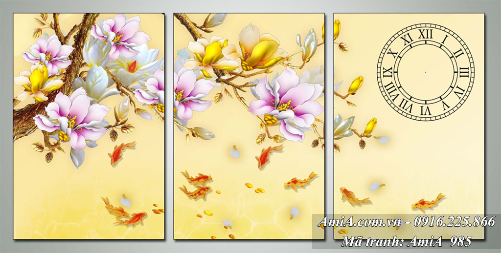 Tranh phong thuy hoa moc lan ca chep y nghia AmiA 985