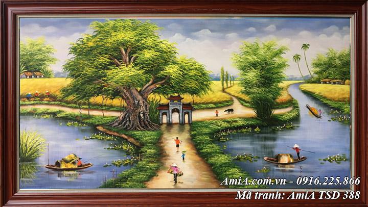 Hình ảnh tranh Amia TSD 388 treo ở phòng khách phong cảnh làng quê Việt Nam