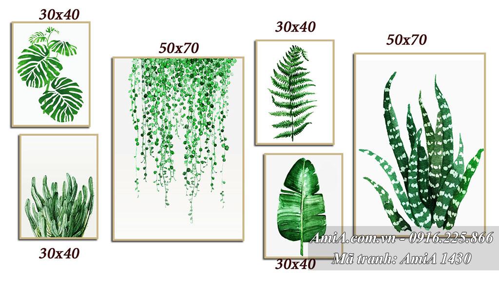 Tranh trang tri bac au bo hoa la mau xanh AmiA 1430