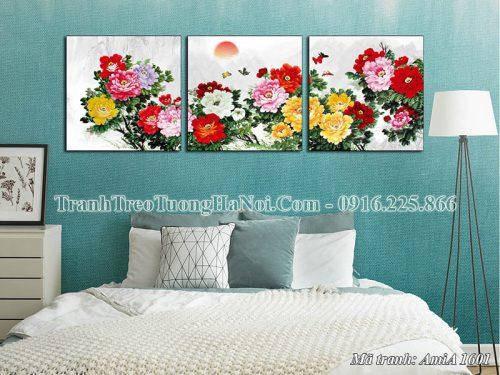 Tranh hoa mẫu đơn AmiA 1601 treo tường phòng ngủ 3 tấm
