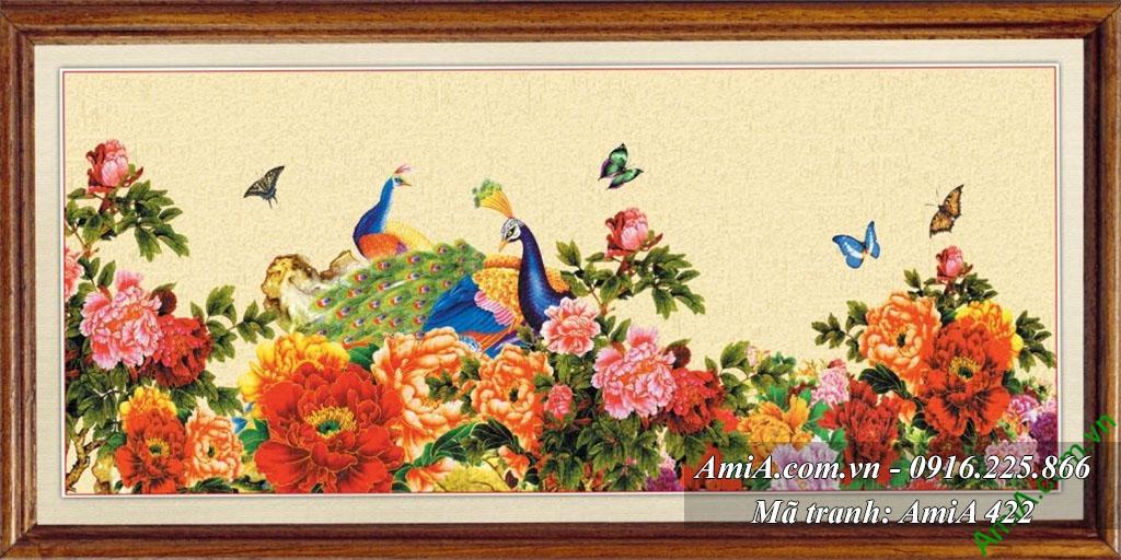 Y nghia tranh doi chim cong va hoa mau don