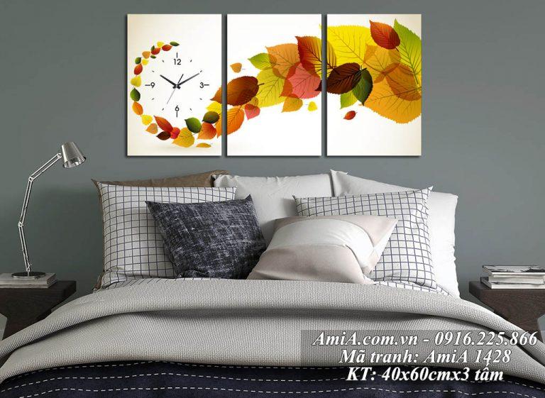 Tranh đồng hồ Amia 1428 chiếc lá mùa Thu treo phòng ngủ