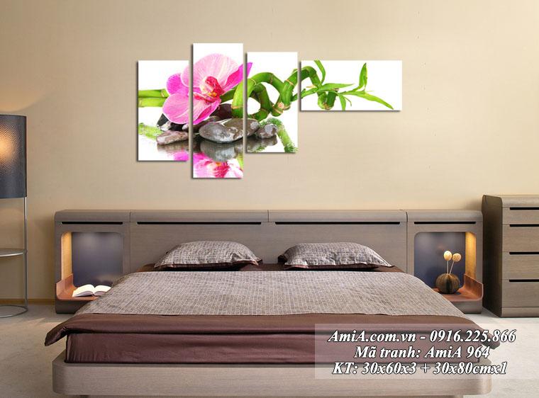 Tranh goc hoa phong lan bo 4 tam treo tuong phong ngu sang trong