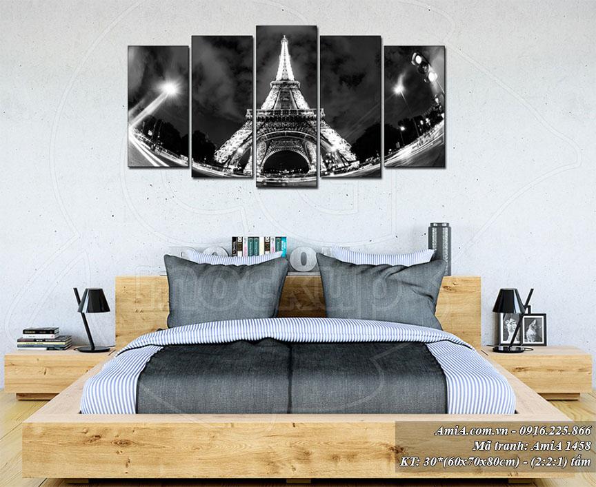 Tranh treo phong ngu hein dai Amia 1458 thap Eiffel ve dem