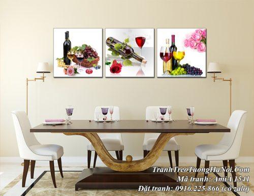 Tranh AmiA 1541 ly rượu vang treo tường 3 tấm hiện đại