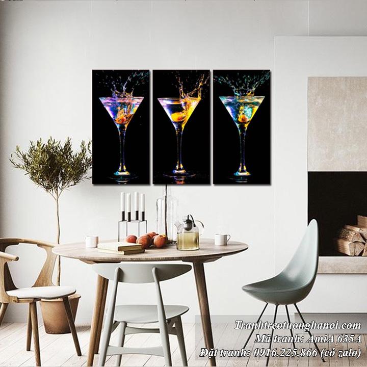 Tranh AmiA 635A ly rượu cocktail treo nhà hàng rất sang trọng