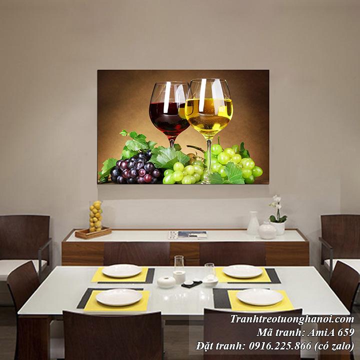 Tranh rượu vang và chùm nho một tấm Amia 659