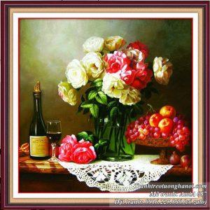 Tranh treo tường rượu vang hoa quả nghệ thuật AmiA 687