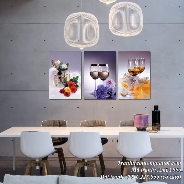 Tranh treo tường phòng ăn AmiA 906 rượu vang