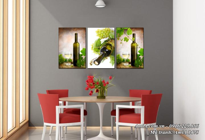 Tranh rượu vang nho treo tường hiện đại AmiA 1475