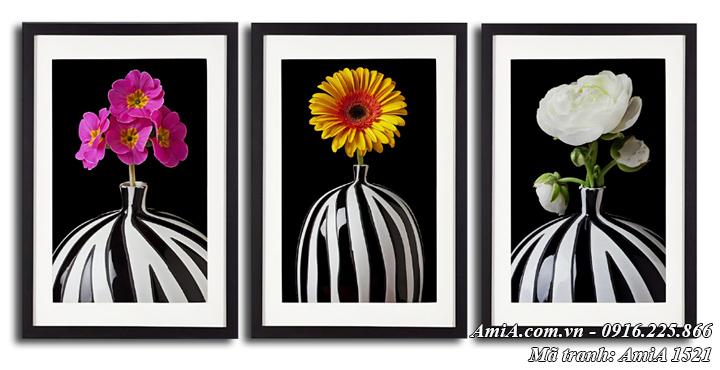 Hình ảnh tranh bình hoa đen trắng nghệ thuật AmiA 1521