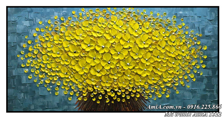 Hình ảnh hoa mai vàng tài lộc giả sơn dầu AmiA 1522