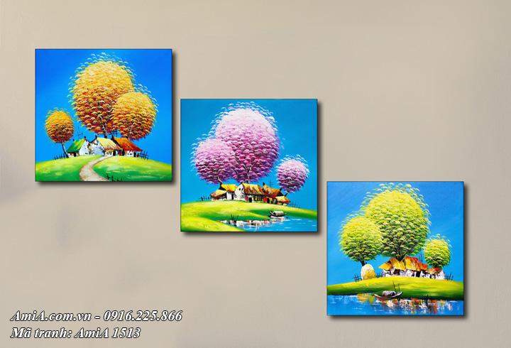 Hình ảnh bộ tranh 3 mùa treo tường AmiA 1513 Xuân Hạ Thu