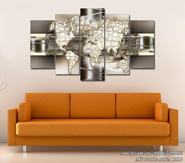 Hình ảnh bức tranh bản đồ nghệ thuật treo tường hiện đại AmiA 1512