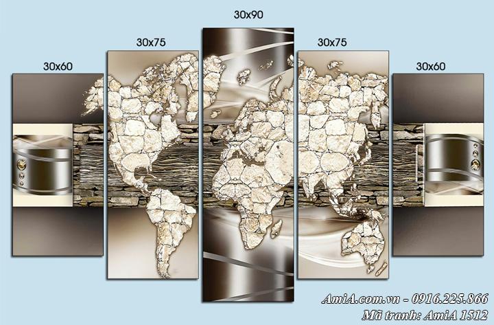 Tranh AmiA 1512 bản đồ thế giới treo tường nghệ thuật
