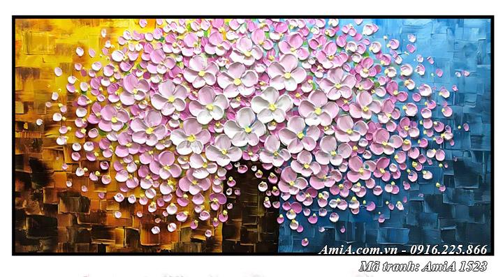 Hình ảnh tranh treo tường bình hoa giả sơn dầu AmiA 1523