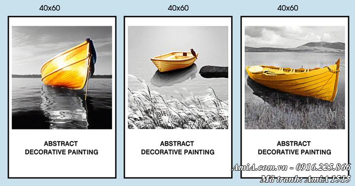Hình ảnh tranh 3 tấm con thuyền vàng ghép bộ hiện đại