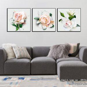 Tranh treo tường phòng khách phòng ngủ hoa hồng làm bằng canvas AmiA 1498