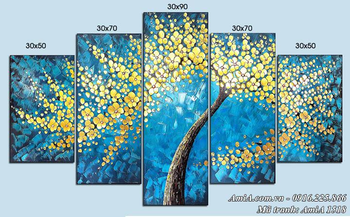 Hình ảnh tranh cây vàng phú quý in giả sơn dầu