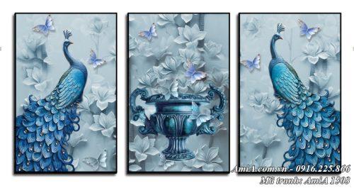 Tranh chim công và bình hoa treo tường quý tộc AmiA 1503