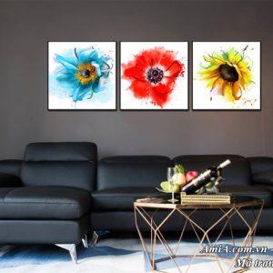 Tranh treo tường ghép bộ 3 tấm hoa tươi mán tràn sức sống