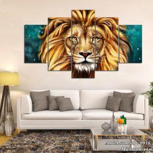 Hình ảnh tranh ghép treo trên tường hiện đại vua sư tử AmiA 1519