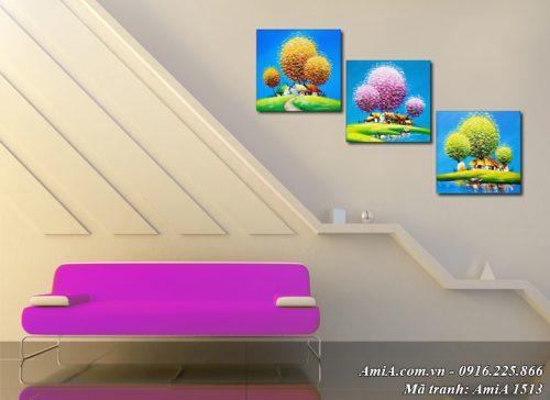 Hình ảnh tranh gỗ treo tường 3 mùa đẹp AmiA 1513
