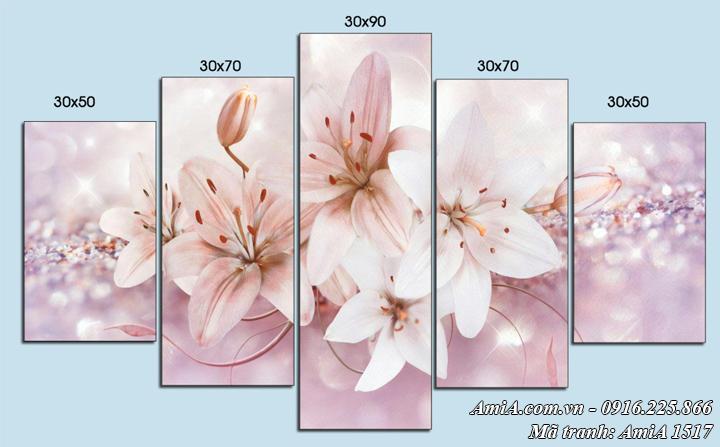 Hình ảnh tranh hoa ly ghép bộ 5 tấm hiện đại