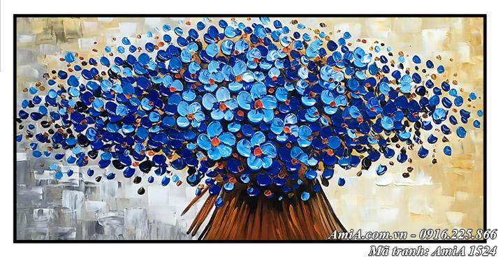 Hình ảnh tranh hoa màu xanh in giả sơn dầu AmiA 1524