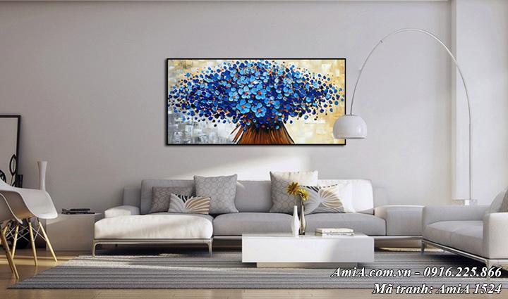 Hình ảnh bức tranh treo phòng khách hoa màu xanh