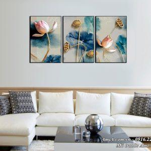 Tranh treo tường phòng khách phòng ngủ hoa Sen 3D Amia 1493