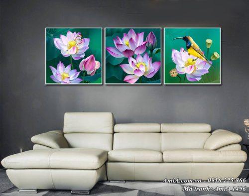 Tranh hoa sen AmiA 1496 bộ 3 tấm in vải canvas nghệ thuật